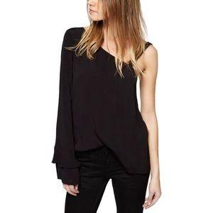 trendy comfy black one shoulder bell sleeve top🖤